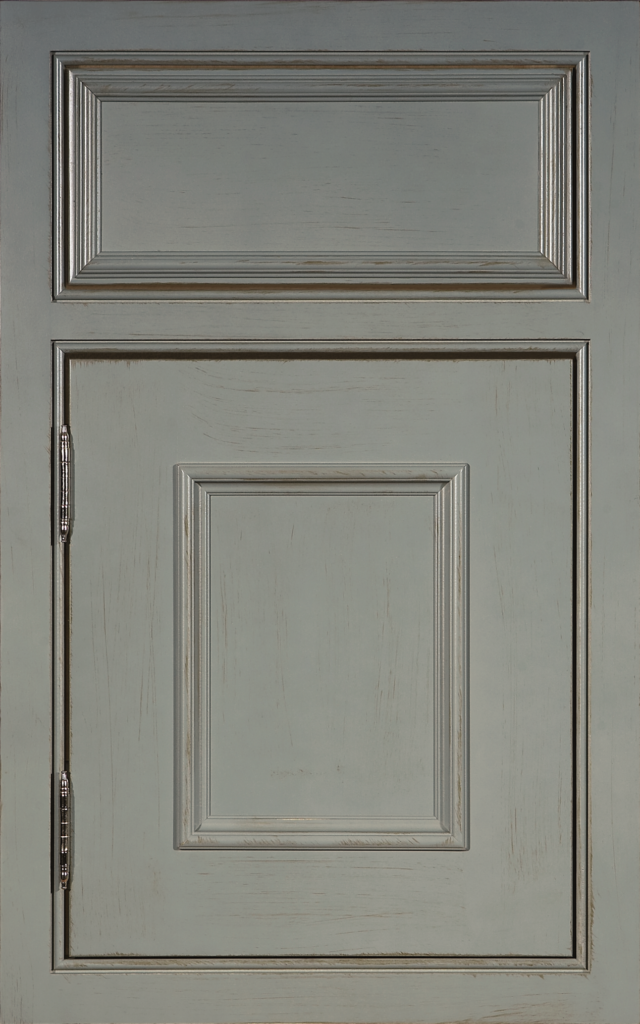 Country Cabinetry, Lexington (inset) maple Islander Dry Brush with Beaded Face Frame and Nickel Barrel Hinge